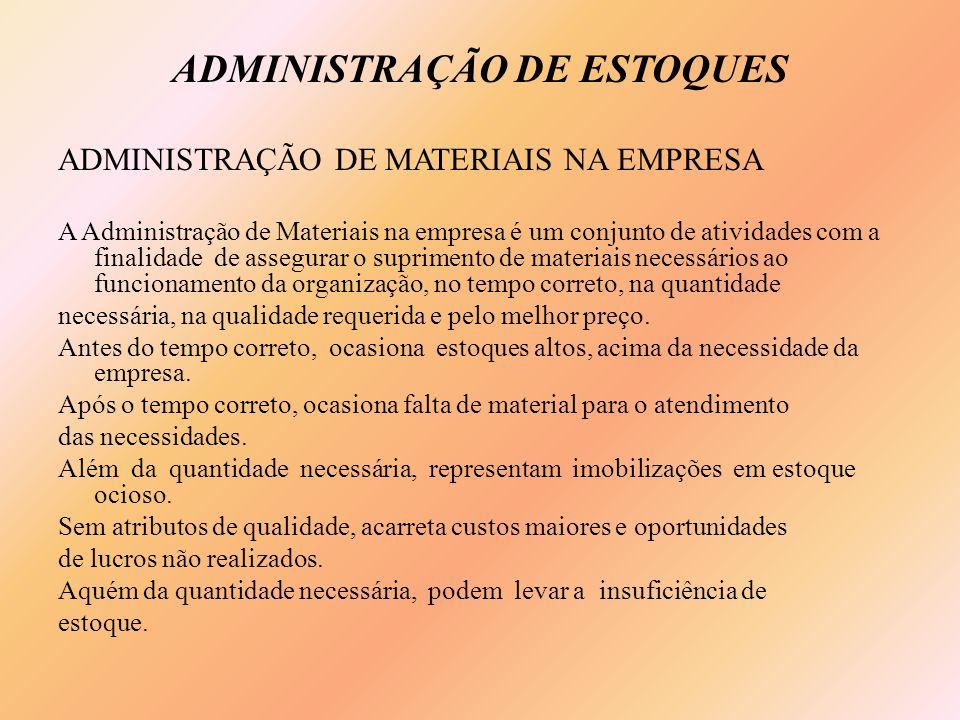 ADMINISTRAÇÃO DE ESTOQUES ADMINISTRAÇÃO DE MATERIAIS NA EMPRESA A Administração de Materiais na empresa é um conjunto de atividades com a finalidade d