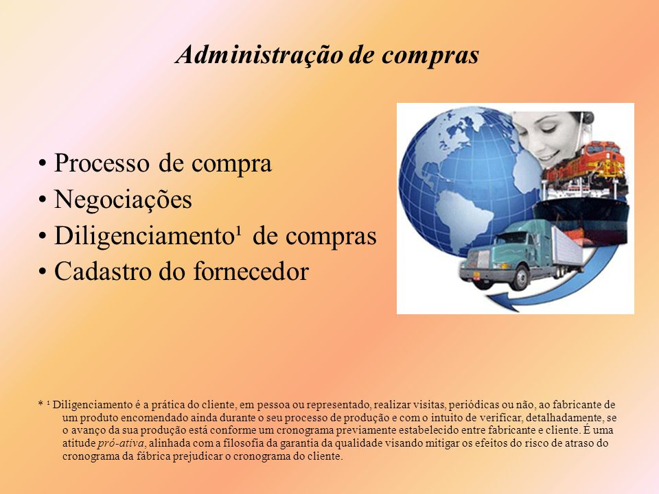 Administração de compras Processo de compra Negociações Diligenciamento¹ de compras Cadastro do fornecedor * ¹ Diligenciamento é a prática do cliente,