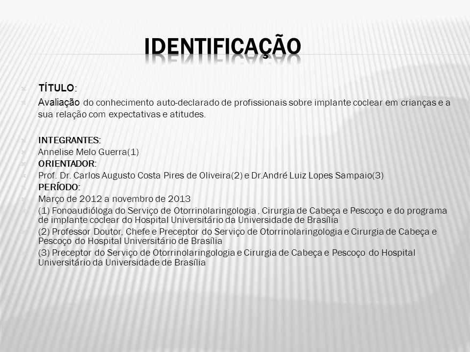 Deficiência Auditiva - morbidade neonatal de maior incidência no Brasil - 3 a cada 1.000 nascidos vivos(1).