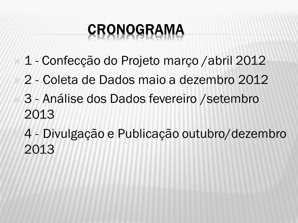1 - Confecção do Projeto março /abril 2012 2 -Coleta de Dados maio a dezembro 2012 3 -Análise dos Dados fevereiro /setembro 2013 4 -Divulgação e Publicação outubro/dezembro 2013