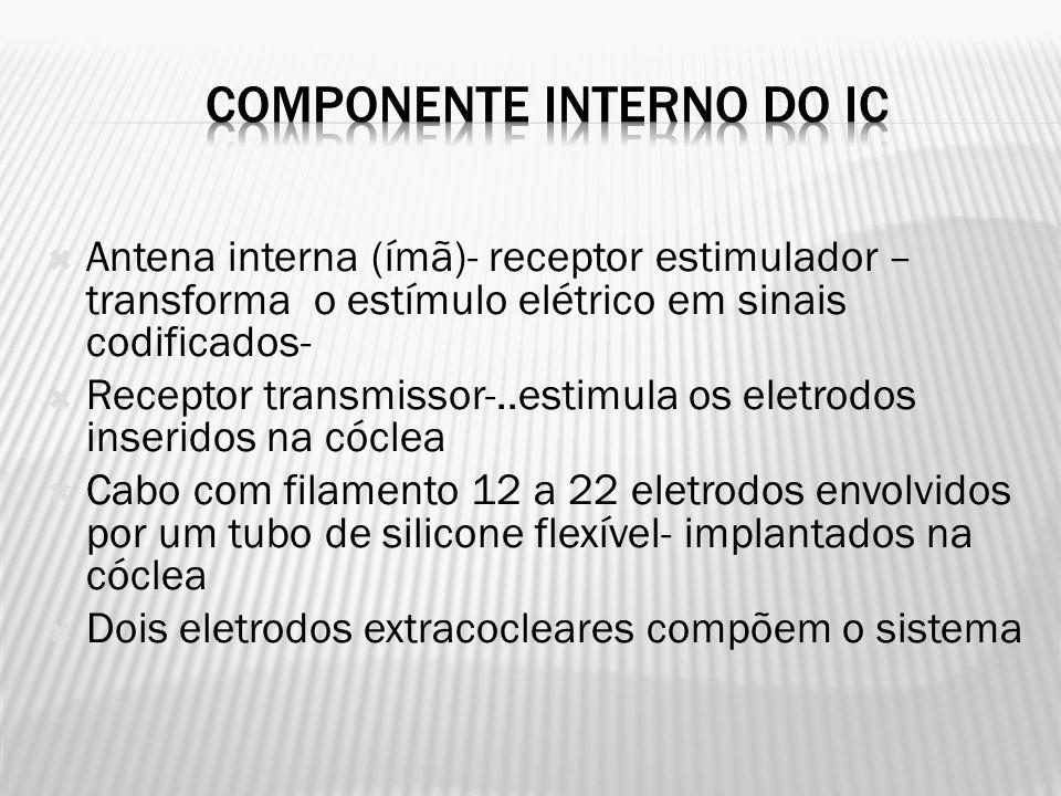 Antena interna (ímã)- receptor estimulador – transforma o estímulo elétrico em sinais codificados- Receptor transmissor-..estimula os eletrodos inseridos na cóclea Cabo com filamento 12 a 22 eletrodos envolvidos por um tubo de silicone flexível- implantados na cóclea Dois eletrodos extracocleares compõem o sistema