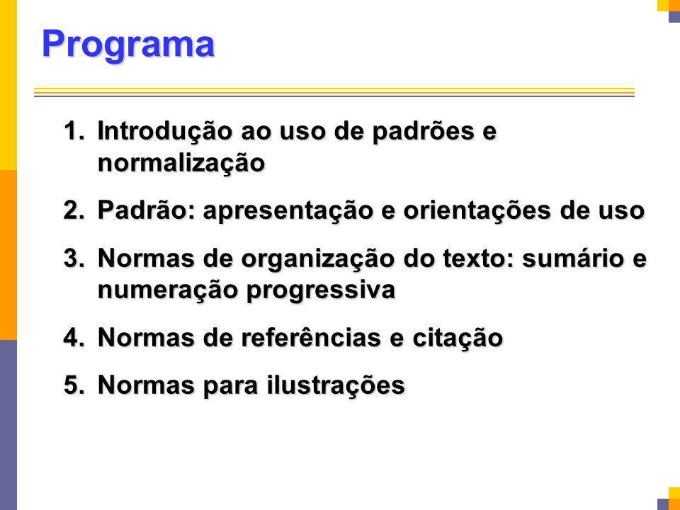 Bibliografia Recomendada ASSOCIAÇÃO BRASILEIRA DE NORMAS TÉCNICAS Informação e documentação Informação e documentação NBR 6023: referências (2002) NBR 6024: numeração progressiva (2003) NBR 6027: sumário (2003) NBR 6028: resumo (2003) NBR 6034: índice (2003) NBR 10520: citações em documentos (2002) NBR 14724: trabalhos acadêmicos (2005)