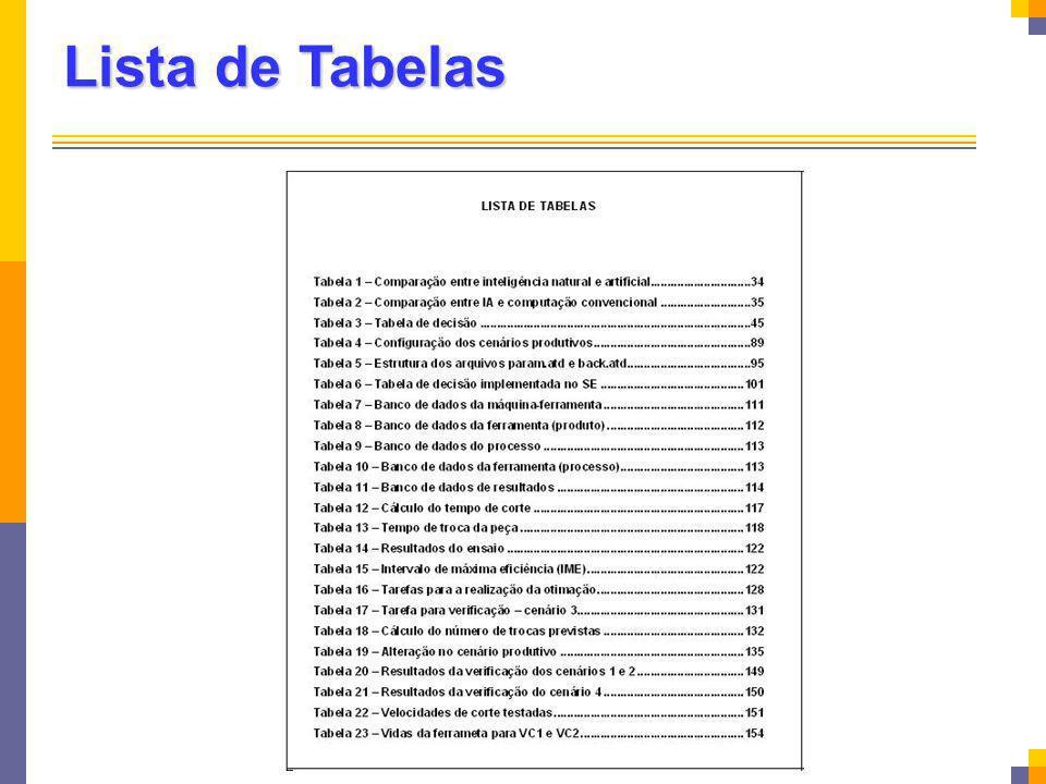 Lista de Tabelas