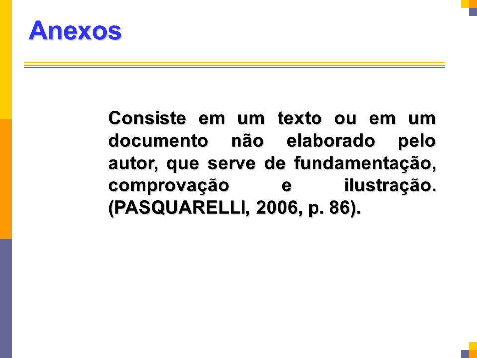 Anexos Consiste em um texto ou em um documento não elaborado pelo autor, que serve de fundamentação, comprovação e ilustração. (PASQUARELLI, 2006, p.