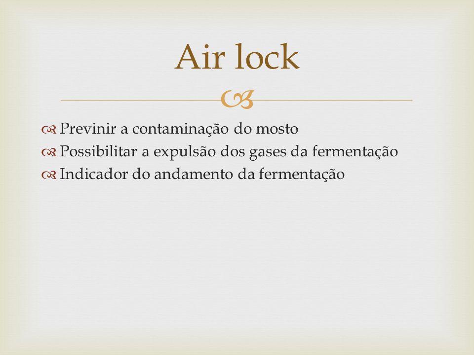 Previnir a contaminação do mosto Possibilitar a expulsão dos gases da fermentação Indicador do andamento da fermentação Air lock