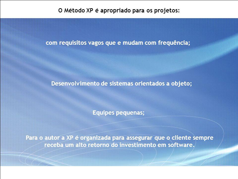All Rights Reserved © Alcatel-Lucent 2007, ##### 7   GCS / IT&O   July 2007 O Método XP é apropriado para os projetos: com requisitos vagos que e muda