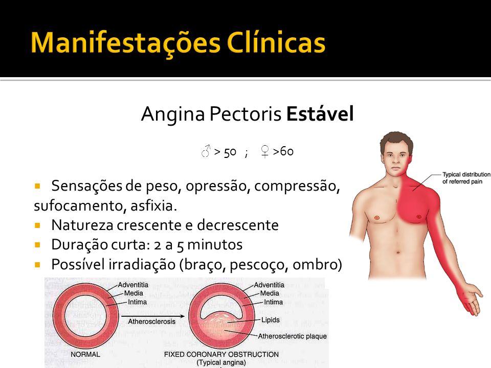 Angina Pectoris Estável > 50 ; >60 Sensações de peso, opressão, compressão, sufocamento, asfixia. Natureza crescente e decrescente Duração curta: 2 a