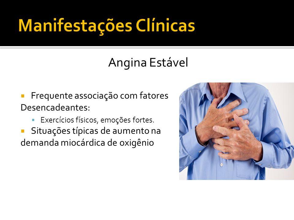 Angina Estável Frequente associação com fatores Desencadeantes: Exercícios físicos, emoções fortes. Situações típicas de aumento na demanda miocárdica