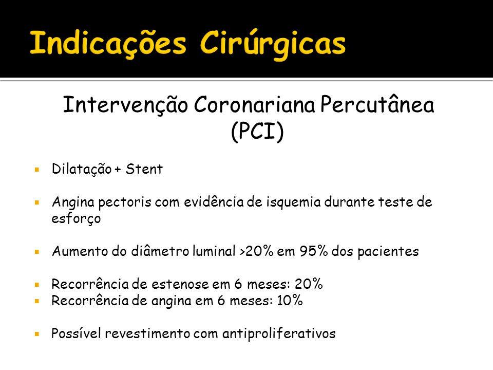 Intervenção Coronariana Percutânea (PCI) Dilatação + Stent Angina pectoris com evidência de isquemia durante teste de esforço Aumento do diâmetro lumi