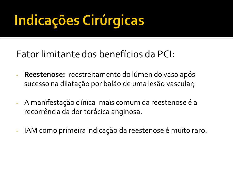 Fator limitante dos benefícios da PCI: - Reestenose: reestreitamento do lúmen do vaso após sucesso na dilatação por balão de uma lesão vascular; - A m