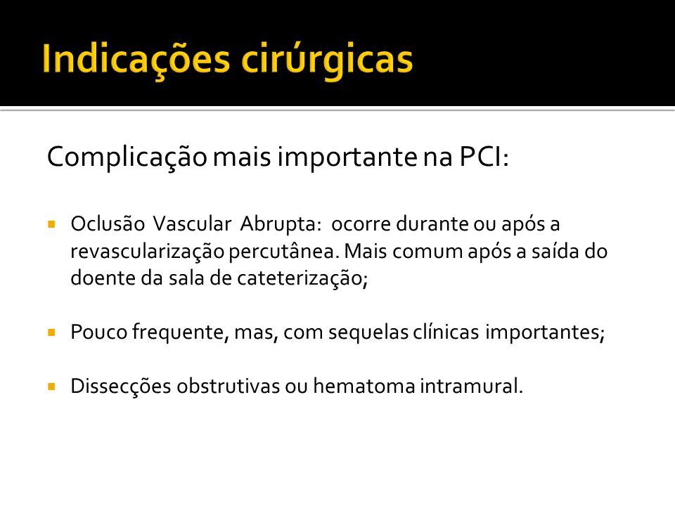 Complicação mais importante na PCI: Oclusão Vascular Abrupta: ocorre durante ou após a revascularização percutânea. Mais comum após a saída do doente