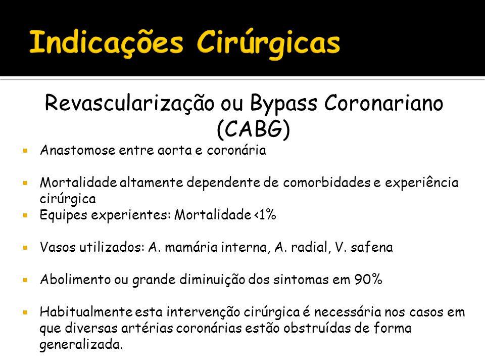 Revascularização ou Bypass Coronariano (CABG) Anastomose entre aorta e coronária Mortalidade altamente dependente de comorbidades e experiência cirúrg
