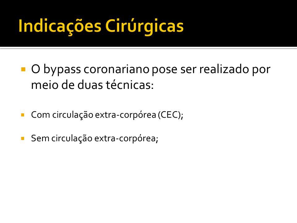 O bypass coronariano pose ser realizado por meio de duas técnicas: Com circulação extra-corpórea (CEC); Sem circulação extra-corpórea;
