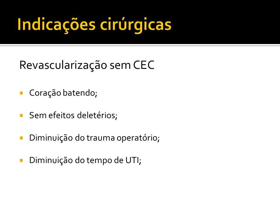 Revascularização sem CEC Coração batendo; Sem efeitos deletérios; Diminuição do trauma operatório; Diminuição do tempo de UTI;