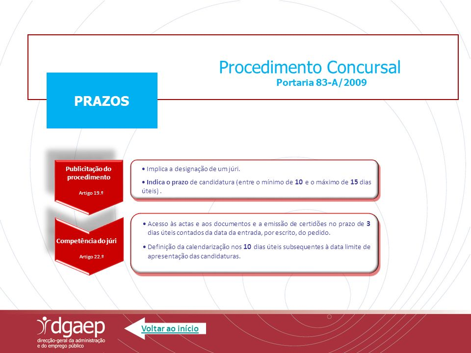 Procedimento Concursal Portaria 83-A/2009 PRAZOS Requisitos de admissão Artigo 25º Requisitos de admissão Artigo 25º O candidato deve reunir os requisitos de admissão até à data limite de apresentação da candidatura.