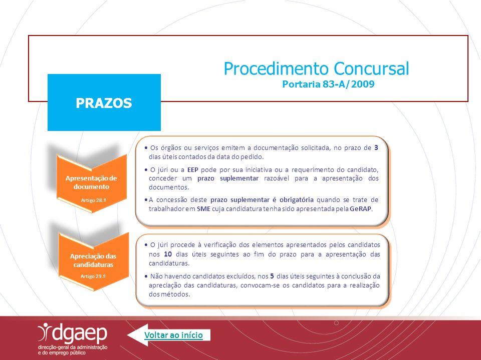 Procedimento Concursal Portaria 83-A/2009 PRAZOS Os órgãos ou serviços emitem a documentação solicitada, no prazo de 3 dias úteis contados da data do pedido.