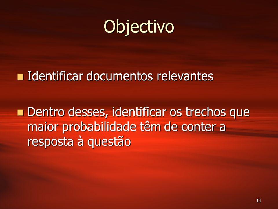 11 Objectivo Identificar documentos relevantes Identificar documentos relevantes Dentro desses, identificar os trechos que maior probabilidade têm de conter a resposta à questão Dentro desses, identificar os trechos que maior probabilidade têm de conter a resposta à questão