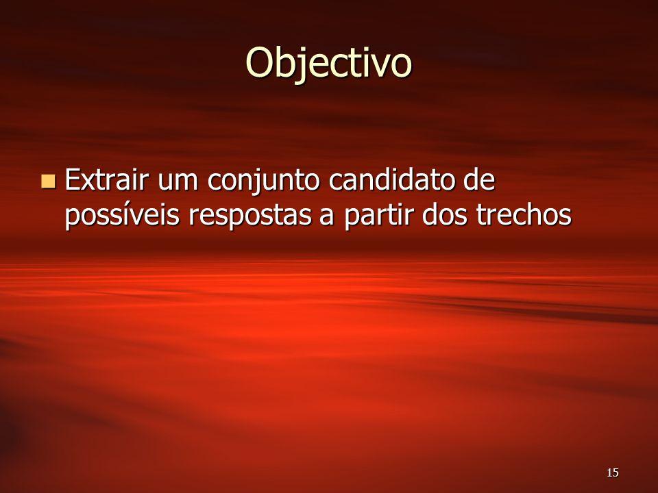 15 Objectivo Extrair um conjunto candidato de possíveis respostas a partir dos trechos Extrair um conjunto candidato de possíveis respostas a partir dos trechos
