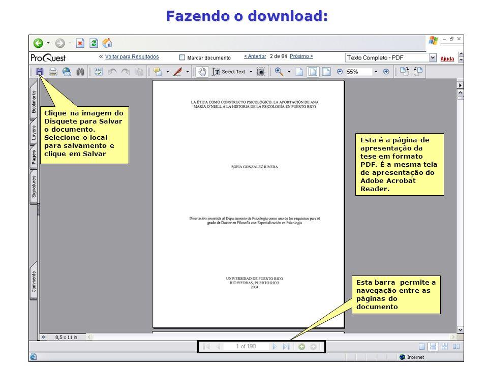 Fazendo o download: Esta é a página de apresentação da tese em formato PDF. É a mesma tela de apresentação do Adobe Acrobat Reader. Clique na imagem d