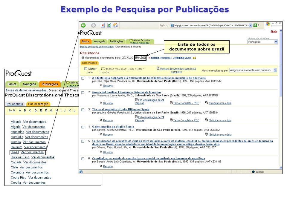 Exemplo de Pesquisa por Publicações Lista de todos os documentos sobre Brazil