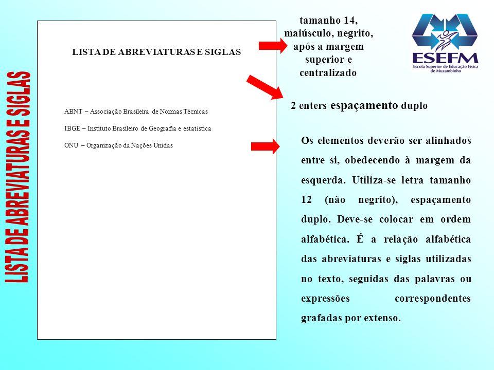 LISTA DE ABREVIATURAS E SIGLAS ABNT – Associação Brasileira de Normas Técnicas IBGE – Instituto Brasileiro de Geografia e estatística ONU – Organizaçã