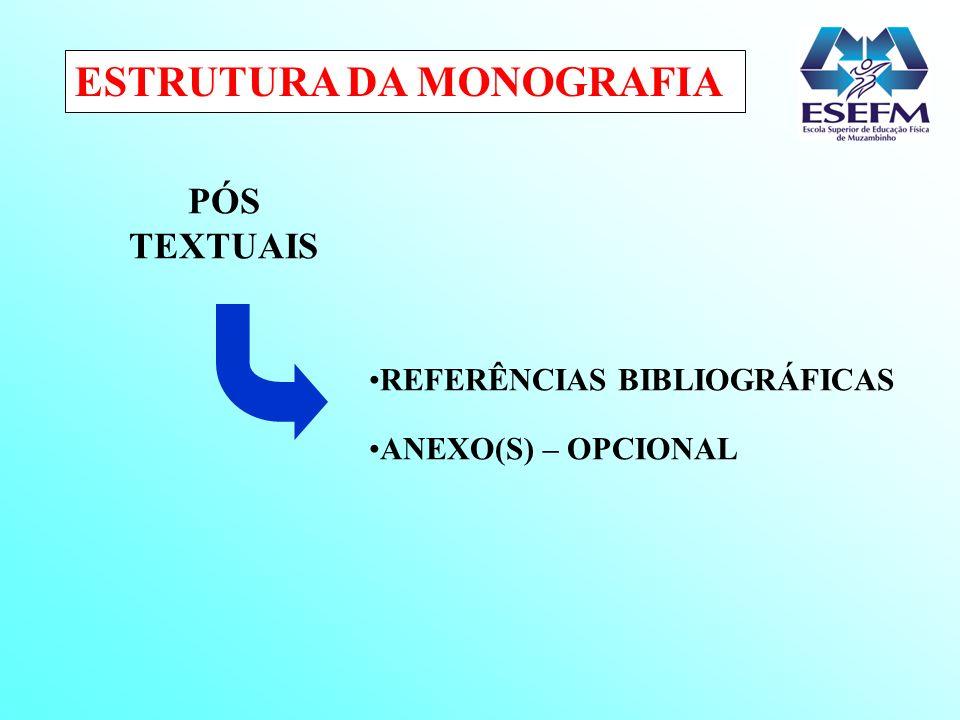 ESTRUTURA DA MONOGRAFIA PÓS TEXTUAIS REFERÊNCIAS BIBLIOGRÁFICAS ANEXO(S) – OPCIONAL