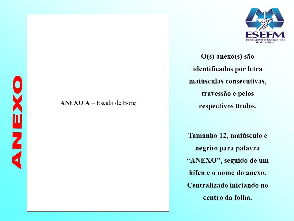 ANEXO A – Escala de Borg Tamanho 12, maiúsculo e negrito para palavra ANEXO, seguido de um hífen e o nome do anexo. Centralizado iniciando no centro d