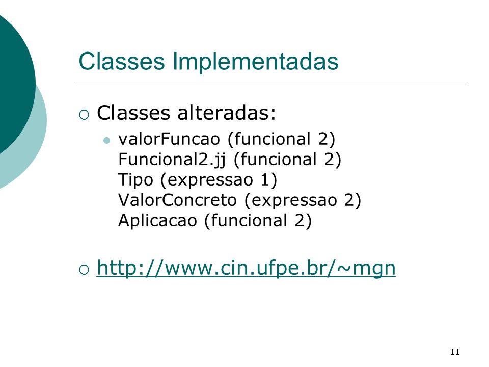 11 Classes Implementadas Classes alteradas: valorFuncao (funcional 2) Funcional2.jj (funcional 2) Tipo (expressao 1) ValorConcreto (expressao 2) Aplic