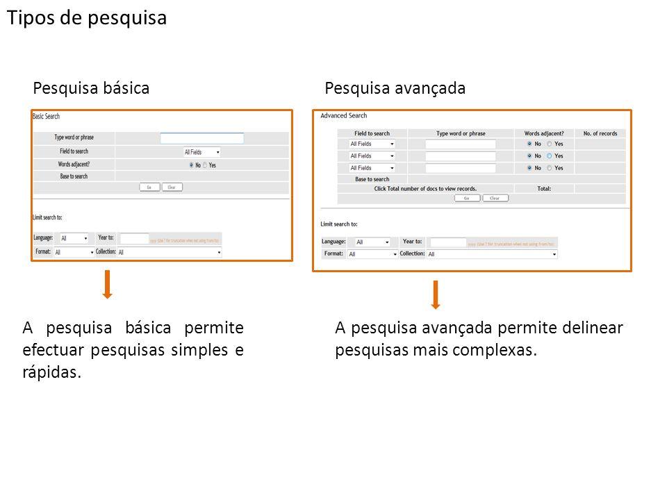 Tipos de pesquisa Pesquisa básicaPesquisa avançada A pesquisa básica permite efectuar pesquisas simples e rápidas.