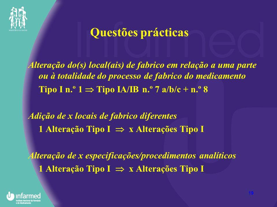 19 Questões prácticas Alteração do(s) local(ais) de fabrico em relação a uma parte ou à totalidade do processo de fabrico do medicamento Tipo I n.º 1 Tipo IA/IB n.º 7 a/b/c + n.º 8 Adição de x locais de fabrico diferentes 1 Alteração Tipo I x Alterações Tipo I Alteração de x especificações/procedimentos analíticos 1 Alteração Tipo I x Alterações Tipo I