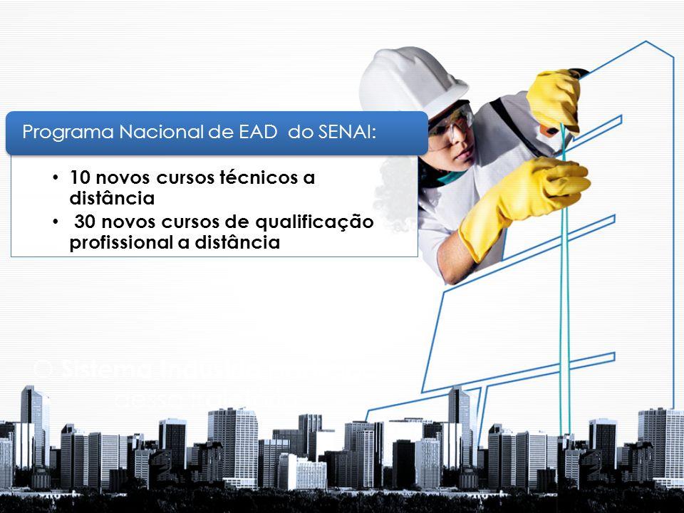 O Sistema Indústria participa dessa trajetória 10 novos cursos técnicos a distância 30 novos cursos de qualificação profissional a distância Programa Nacional de EAD do SENAI: