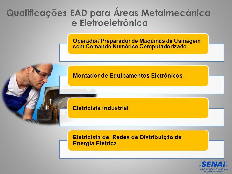 Qualificações EAD para Áreas Metalmecânica e Eletroeletrônica Operador/ Preparador de Máquinas de Usinagem com Comando Numérico Computadorizado Montador de Equipamentos EletrônicosEletricista Industrial Eletricista de Redes de Distribuição de Energia Elétrica