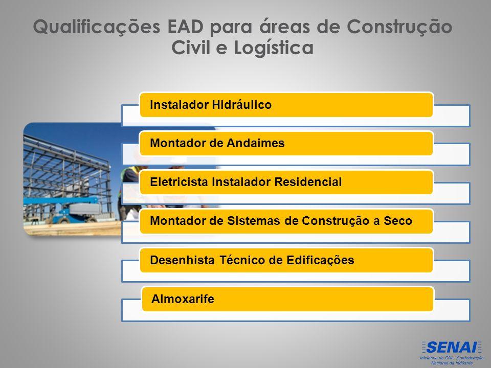 Qualificações EAD para áreas de Construção Civil e Logística Instalador HidráulicoMontador de AndaimesEletricista Instalador ResidencialMontador de Sistemas de Construção a SecoDesenhista Técnico de EdificaçõesAlmoxarife