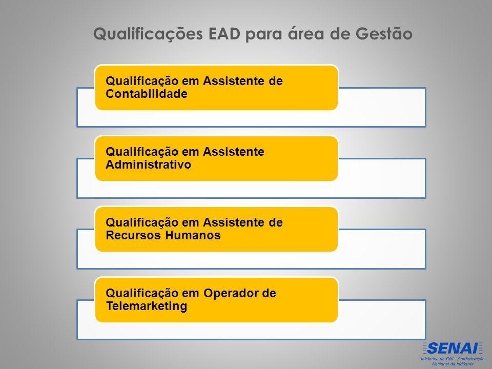 Qualificação em Assistente de Contabilidade Qualificação em Assistente Administrativo Qualificação em Assistente de Recursos Humanos Qualificação em Operador de Telemarketing Qualificações EAD para área de Gestão