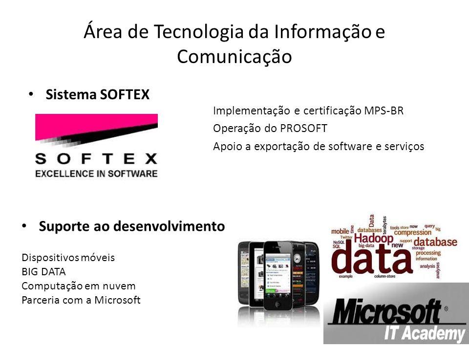 Área de Tecnologia da Informação e Comunicação Sistema SOFTEX Suporte ao desenvolvimento Implementação e certificação MPS-BR Operação do PROSOFT Apoio a exportação de software e serviços Dispositivos móveis BIG DATA Computação em nuvem Parceria com a Microsoft