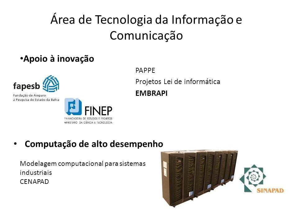 Área de Tecnologia da Informação e Comunicação Computação de alto desempenho PAPPE Projetos Lei de informática EMBRAPI Modelagem computacional para sistemas industriais CENAPAD Apoio à inovação