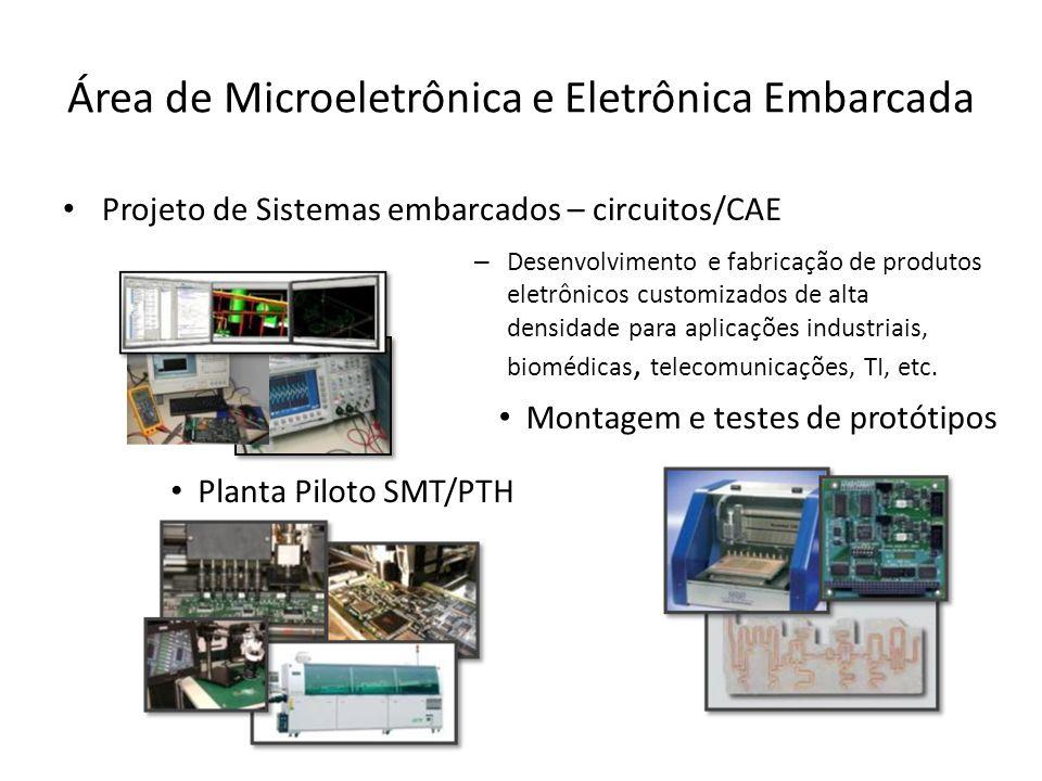 Área de Microeletrônica e Eletrônica Embarcada Projeto de Sistemas embarcados – circuitos/CAE Planta Piloto SMT/PTH Montagem e testes de protótipos – Desenvolvimento e fabricação de produtos eletrônicos customizados de alta densidade para aplicações industriais, biomédicas, telecomunicações, TI, etc.