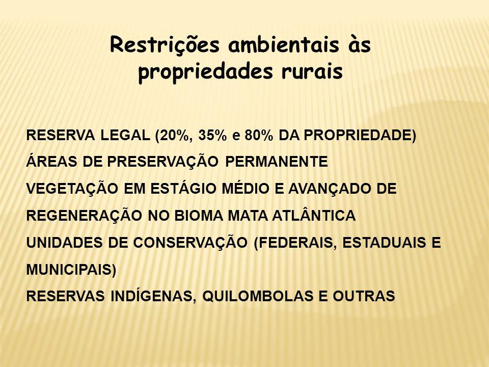 Restrições ambientais às propriedades rurais RESERVA LEGAL (20%, 35% e 80% DA PROPRIEDADE) ÁREAS DE PRESERVAÇÃO PERMANENTE VEGETAÇÃO EM ESTÁGIO MÉDIO