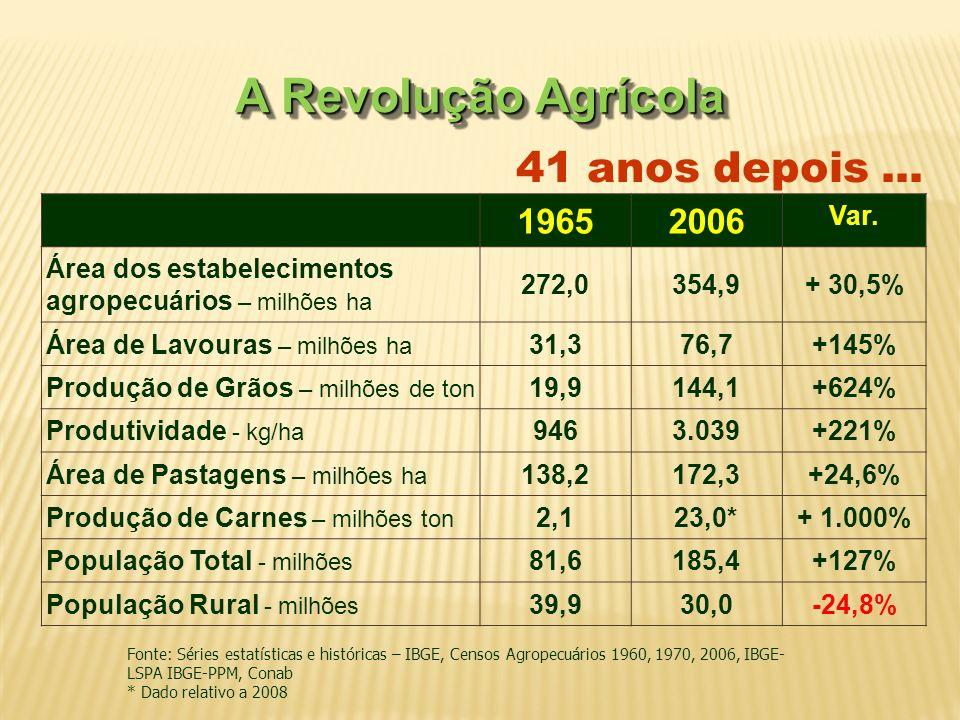 19652006 Var. Área dos estabelecimentos agropecuários – milhões ha 272,0354,9+ 30,5% Área de Lavouras – milhões ha 31,376,7+145% Produção de Grãos – m