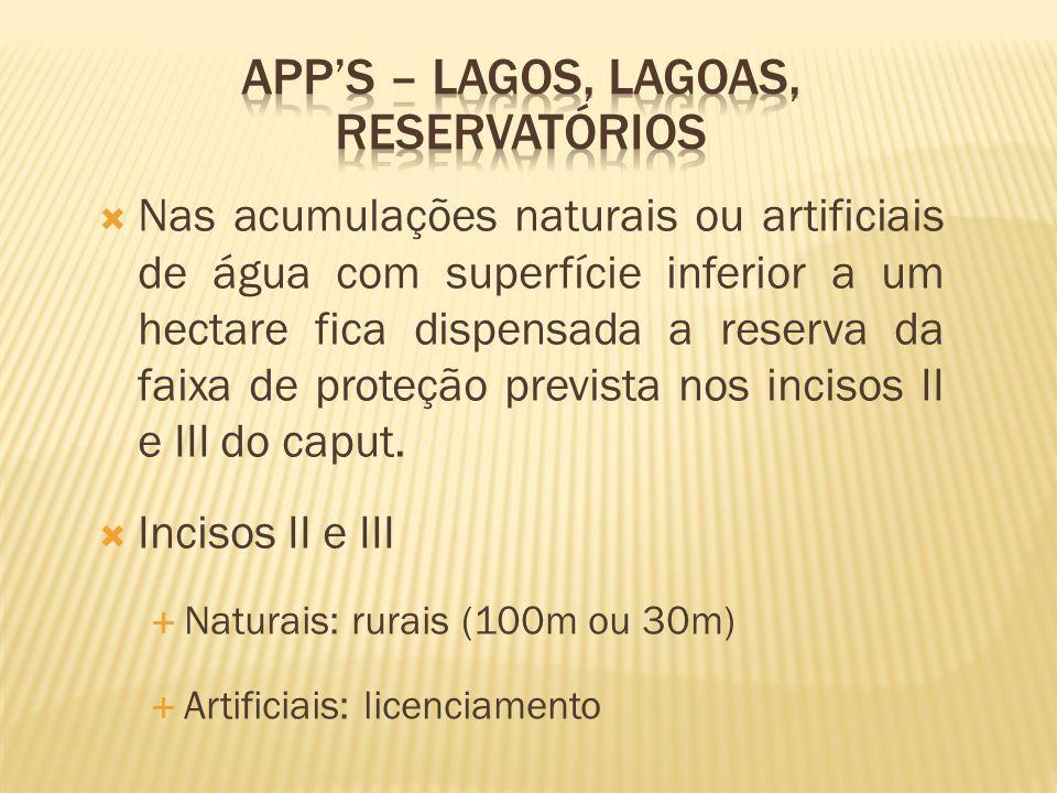 Nas acumulações naturais ou artificiais de água com superfície inferior a um hectare fica dispensada a reserva da faixa de proteção prevista nos incis