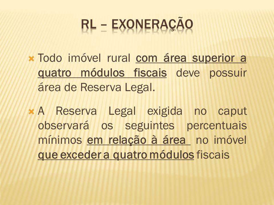 Todo imóvel rural com área superior a quatro módulos fiscais deve possuir área de Reserva Legal. A Reserva Legal exigida no caput observará os seguint
