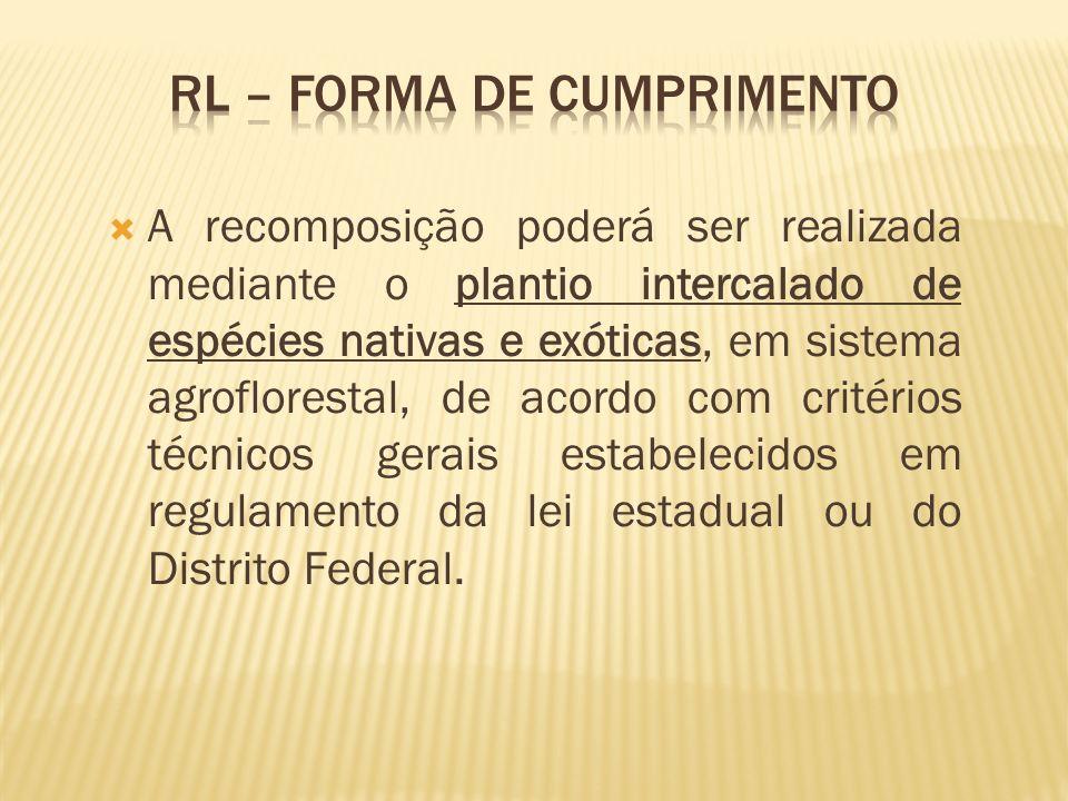 A recomposição poderá ser realizada mediante o plantio intercalado de espécies nativas e exóticas, em sistema agroflorestal, de acordo com critérios t