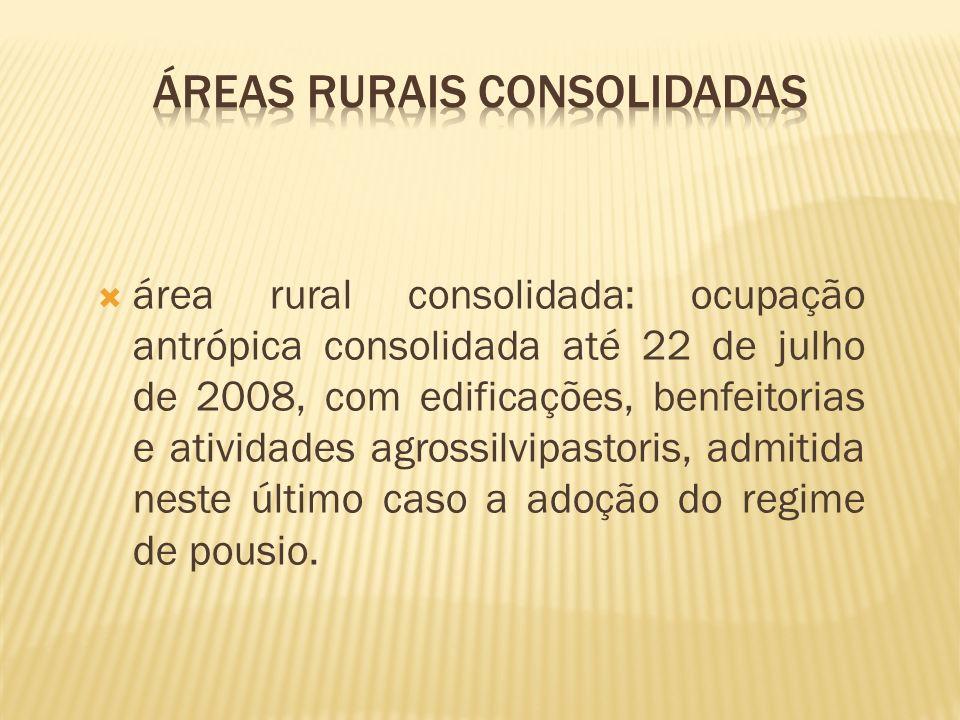 área rural consolidada: ocupação antrópica consolidada até 22 de julho de 2008, com edificações, benfeitorias e atividades agrossilvipastoris, admitid