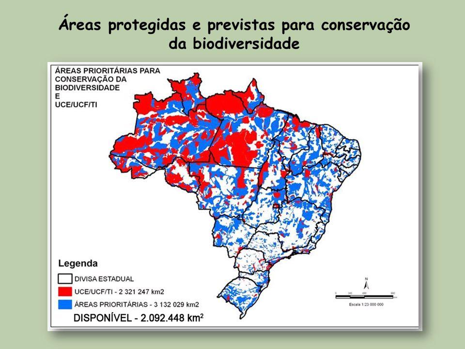 Áreas protegidas e previstas para conservação da biodiversidade