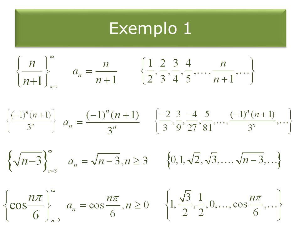 Exemplo 2 Ache uma fórmula para o termo geral a n da sequência