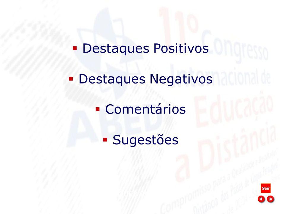 DESTAQUES POSITIVOS Destaques Positivos Destaques Negativos Comentários Sugestões Sair