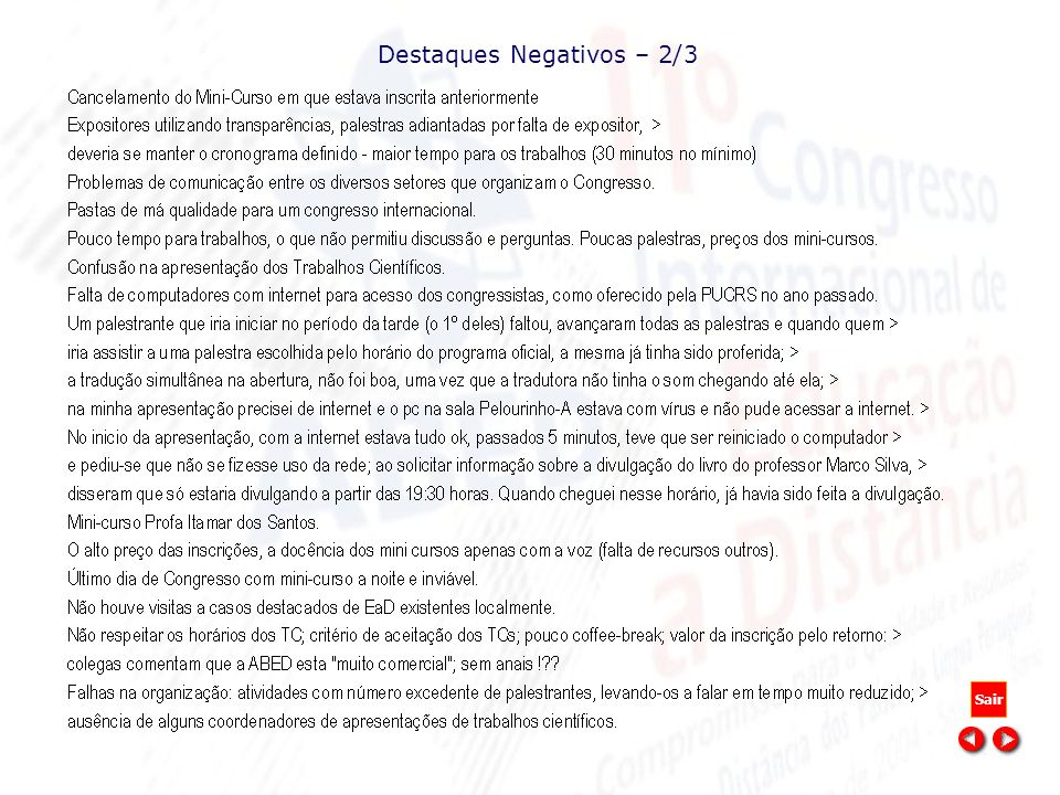 Destaques Negativos – 2/3 Sair