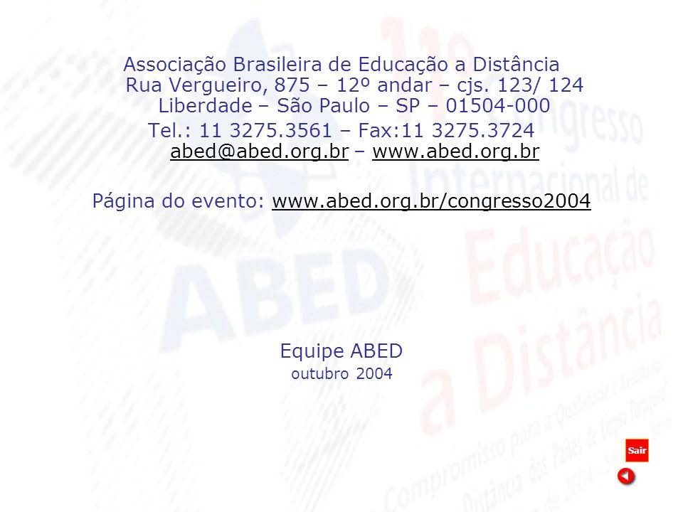 Associação Brasileira de Educação a Distância Rua Vergueiro, 875 – 12º andar – cjs. 123/ 124 Liberdade – São Paulo – SP – 01504-000 Tel.: 11 3275.3561