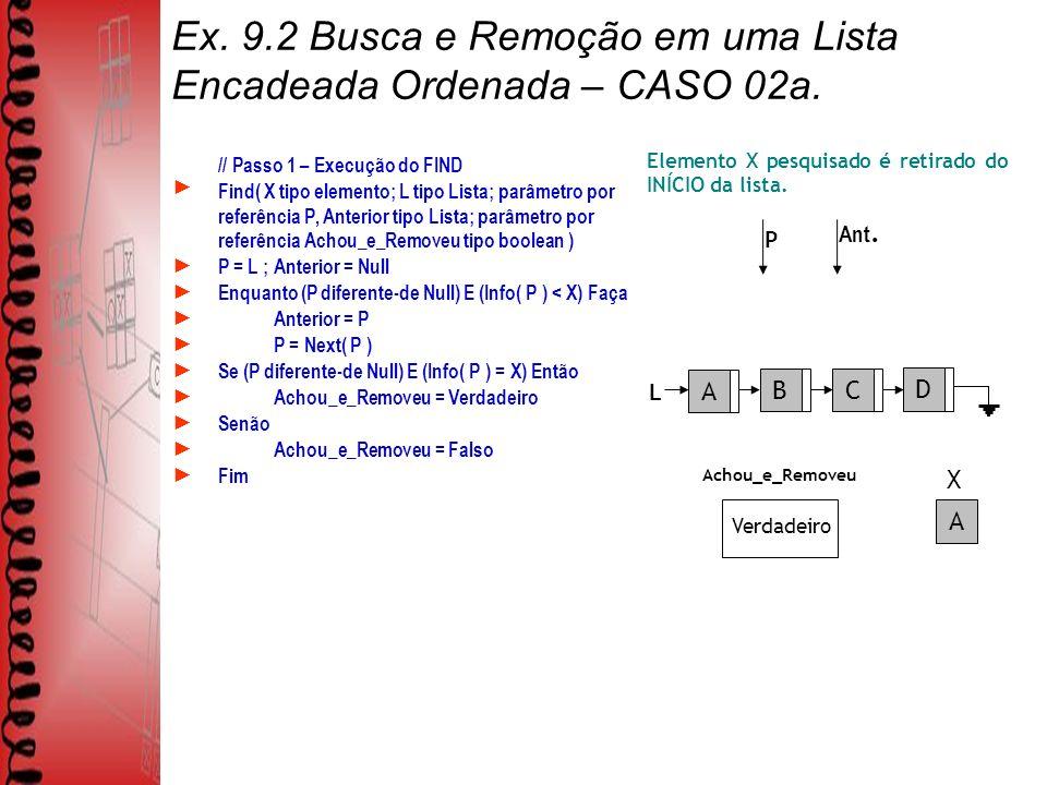 Ex.9.2 Busca e Remoção em uma Lista Encadeada Ordenada – CASO 02a.
