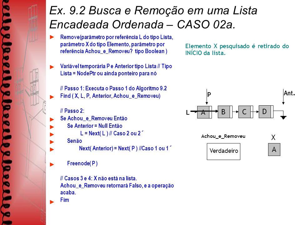 C Ex. 9.2 Busca e Remoção em uma Lista Encadeada Ordenada – CASO 02a.